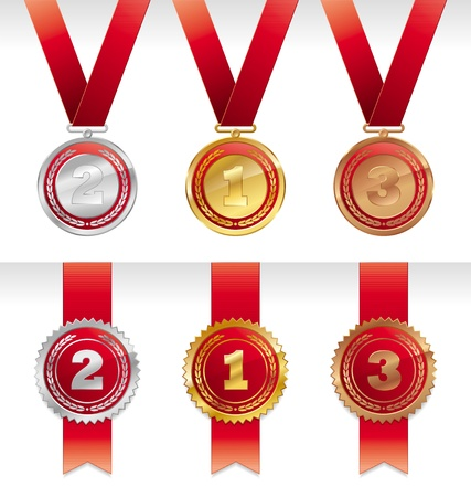 Three vector medals with ribbons - gold, silver and bronze Vector