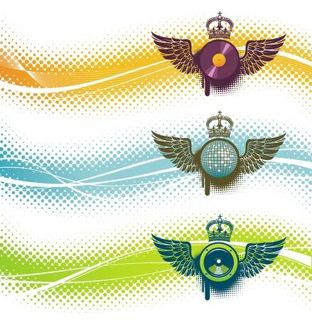 subwoofer: Tre emblema vettore musicale
