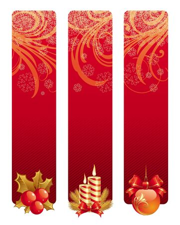 Three red christmas vector banners with holidays symbols Vector
