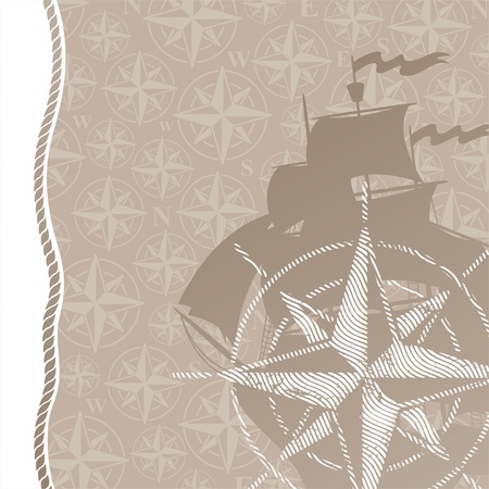 brigantine: Travel and adventures vector background with compass rose & sail ship