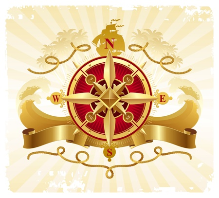 ship storm: Travel and adventures vintage vector emblem with golden compass rose