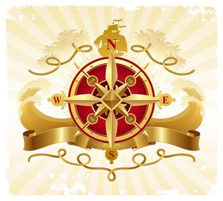 rose wind: Viajes y aventuras emblema de vector vintage con rose br�jula dorada