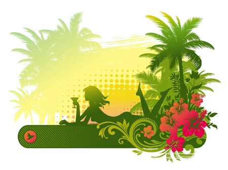 tanned girl: Silhouette of a girl with cocktail on a tropical landscape