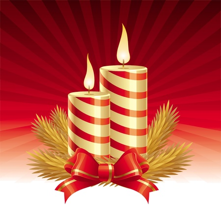 candle light: Two christmas candles - vector illustration