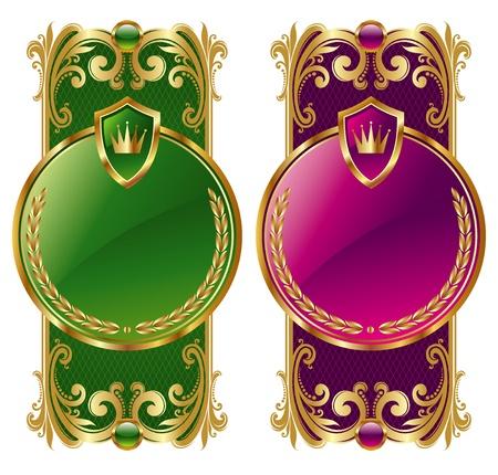 gild: Ornamentali cornici dorate vettore