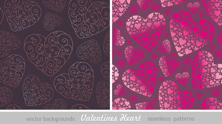 corazon: Two vector seamless background with Valentines hearts