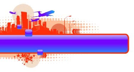 avioncitos: Marco de vectores brillante con siluetas de avi�n y paisaje urbano