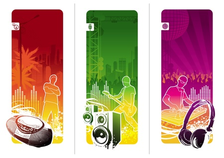 acoustics: Vector banners - Urban musical youth culture