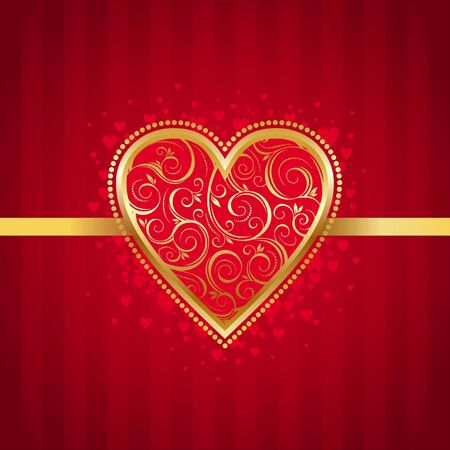 Valentines vector card with golden ornate heart Stock Vector - 9934962