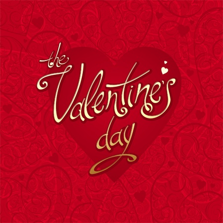 valentine's day: Valentines vector card with hearts background & calligraphy Illustration