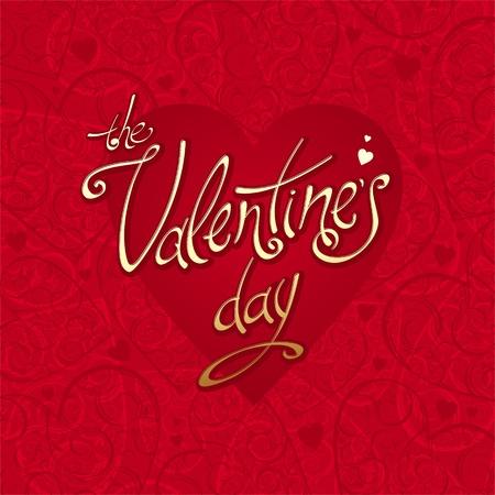 Valentines vector tarjeta con el fondo de los corazones y caligrafía