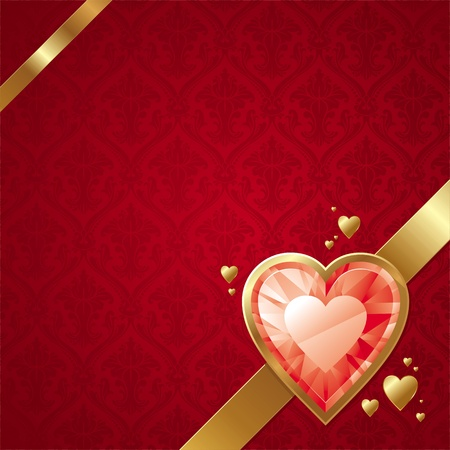jewel: Valentines vector card with ruby hearts on golden frame