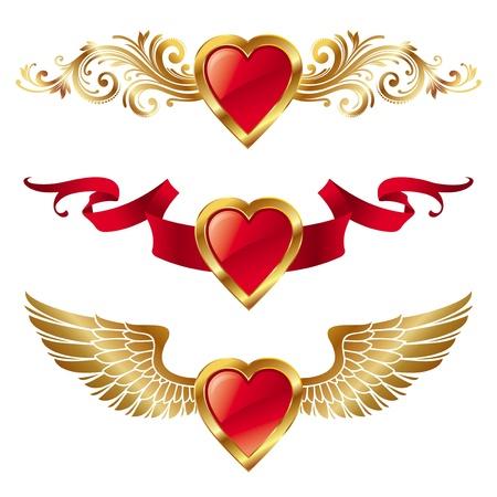 corazon con alas: Vectot corazones de San Valent�n con decoraci�n Vectores