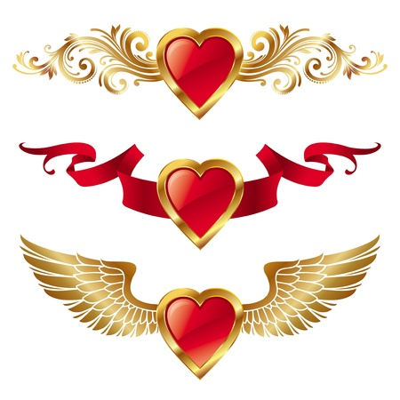 heart and wings: Vectot valentines hearts with decor