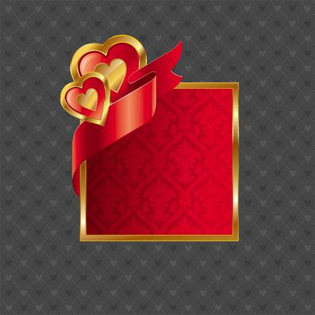 corazon: Vector Valentines illustration with golden luxury ornate frame with hearts and ribbon