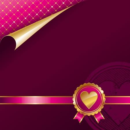 Valentines luxury vector design with golden seal heart Vector