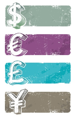 Vector banners with hand drawn currency signs Vector