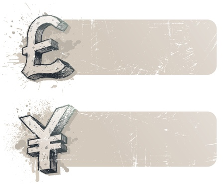 pound sign: Vector banners with hand drawn currency signs - yen and pound sterling