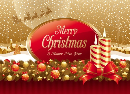 Vector christmas illustration with candles, bow & frame for text Stock Vector - 9945422