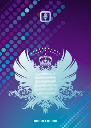 escudo de armas: Vector brillante de fondo y escudo her�ldico