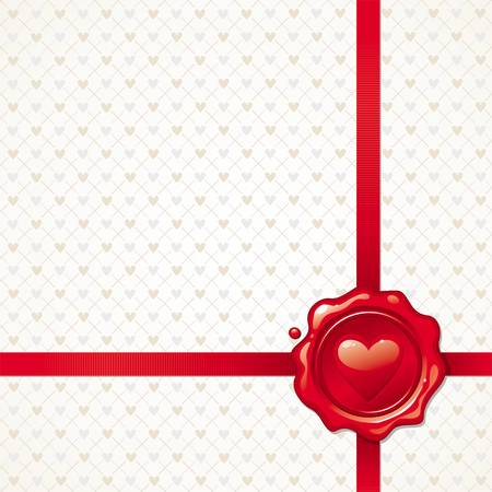 tampon cire: Background illustration vectorielle avec cachet de cire � cacheter Valentines Illustration