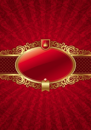 Vector ornate background with golden luxury framed label Vector