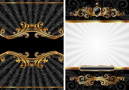 aristocrático: Conjunto de vector de fondo decorativo de lujo oro & negro