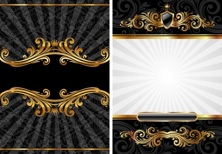 royal background: Vector set of gold & black luxury decorative background