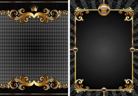 nobile: Insieme vettoriale di sfondo decorativo di lusso oro & nero Vettoriali