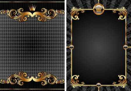 Vector set of gold & black luxury decorative background Stock Vector - 9935130
