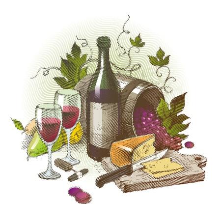kaas: Vector vintage stilleven met wijn