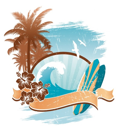 tropical climate: Vintage surfing vector emblem Illustration