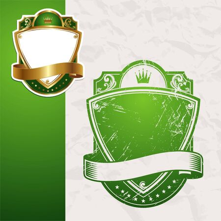 ornamental shield: Vintage vector green framed label Illustration
