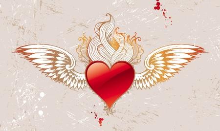 corazon con alas: Coraz�n Vintage vector alado Vectores