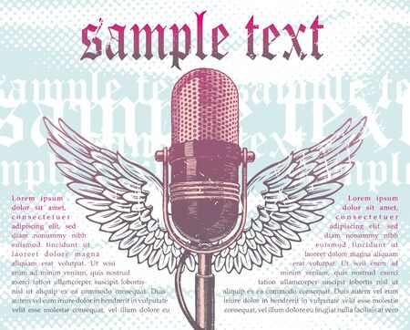 microfono radio: Vector dibujado a mano alas micr�fono retro