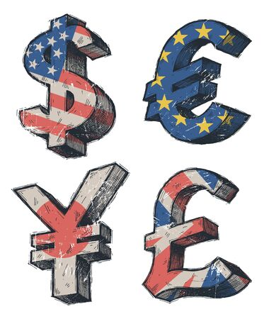 World currencies signs - vector hand drawn illustration Vector