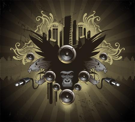silueta mono: Emblema her�ldico musical vector