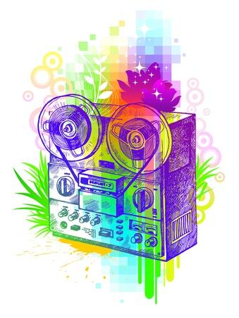 magnetofon: Abstrakcyjna ilustracji wektorowych - rÄ™cznie narysowanego magnetofonu