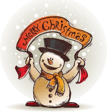 boule de neige: Main Vector dessin� souriant Bonhomme de neige avec la banni�re