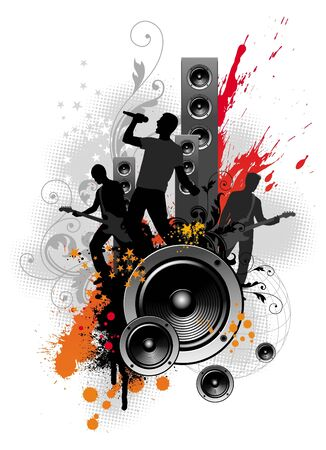 pop musician: Vector illustration with rock band