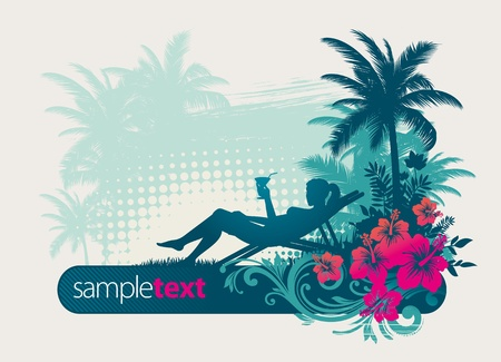 coctail: Girl drinking cocktail on a tropical landscape - vector illustartion