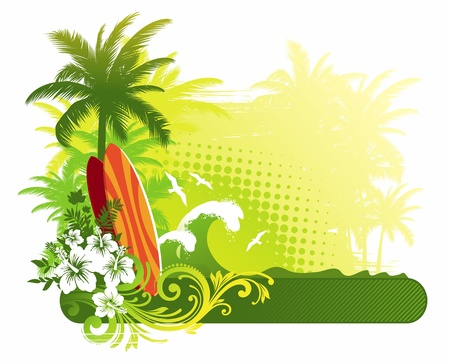 tropics: Vector illustration - surfboard on tropical landscape