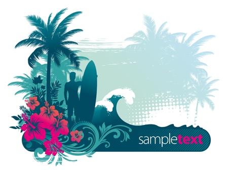 surfboards: Vector illustration - surfer silhouette on atropical landscape Illustration