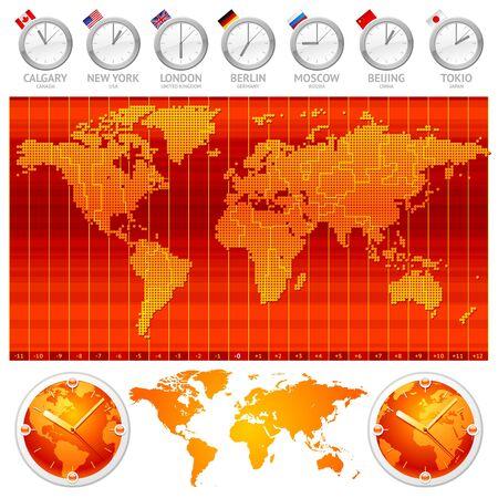 sur: Zonas horarias y relojes - ilustración vectorial