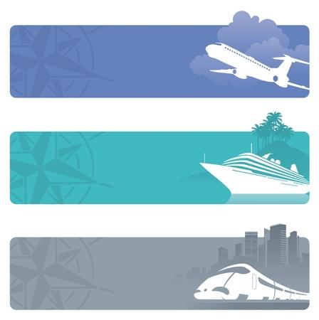 Banners de vector de viajes con transporte contemporáneo