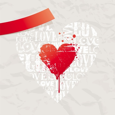 bleeding: Valentines vector card with grunge hearts on vintage paper