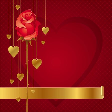 aristocratic: Valentines vector illustration with red rose & hanging golden hearts Illustration