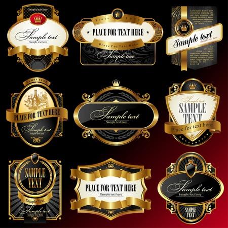 nobile: Set di etichette decorativi vector dorato ornato incorniciato