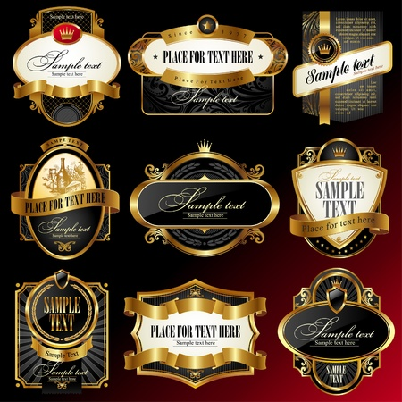 food label: Set of decorative ornate golden vector framed labels