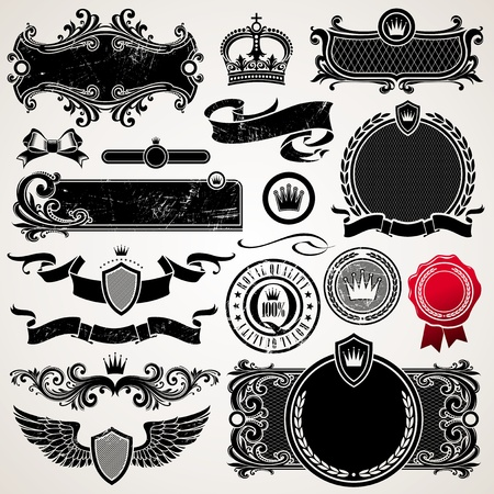 Vector set of royal ornate frames and elements Vector